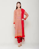 ROSE PINK RED BLOCK PRINTED ANARKALI WITH ZARDOZI THREAD WORK