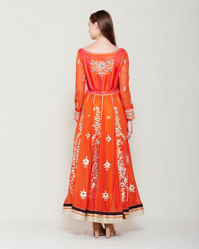 RUST ORANGE GOTA EMBROIDERED ANARKALI