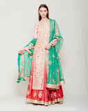 SILK KURTA LEHENGA SET WITH HEAVY GOTA WORK