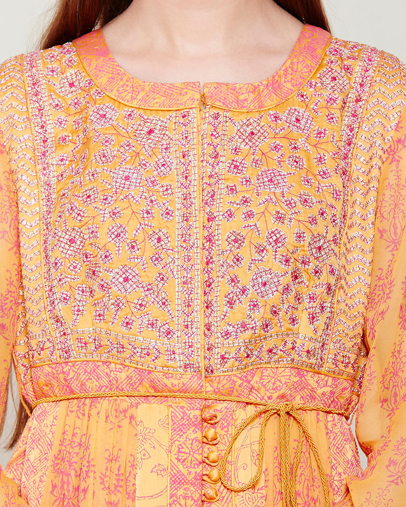 ORANGE PINK BLOCK PRINTED ANARKALI WITH GOTA THREAD WORK