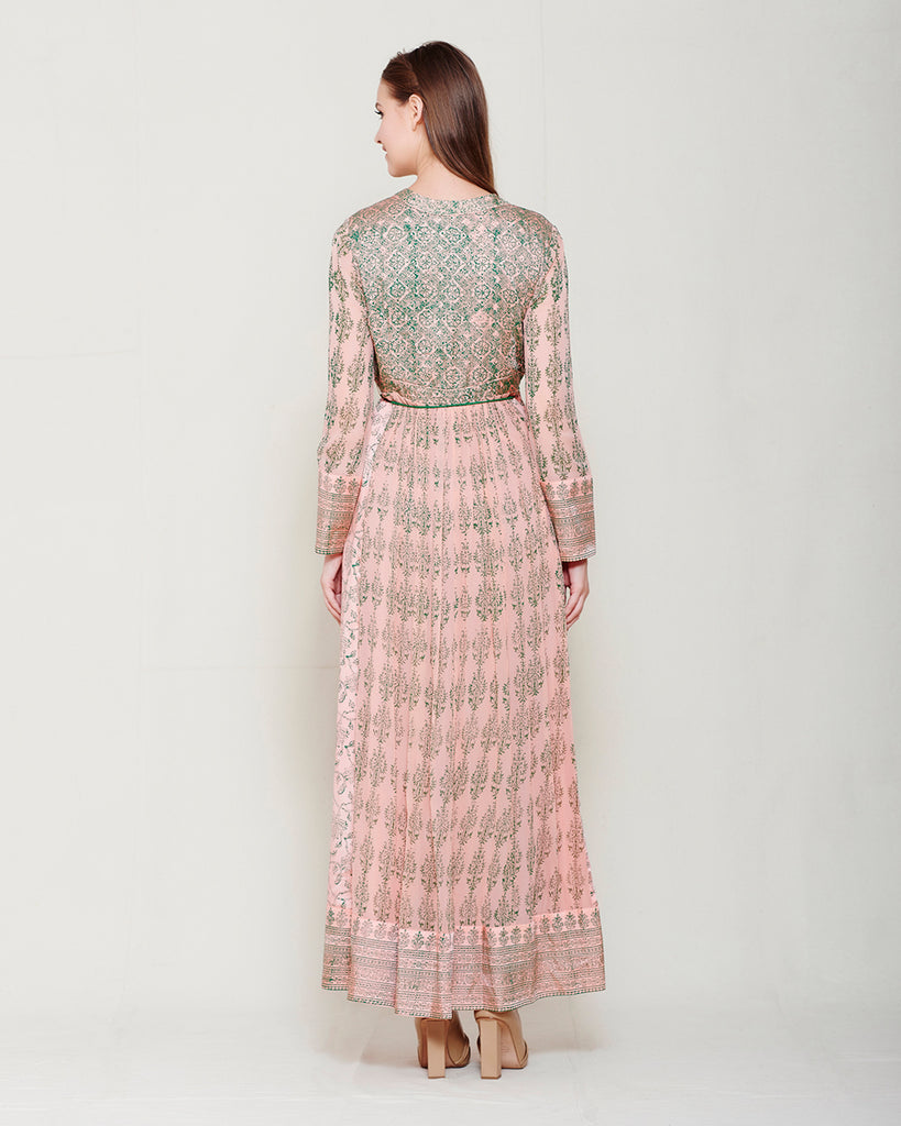 PINK & GREEN BLOCK PRINTED ANARKALI WITH GOTA THREAD WORK