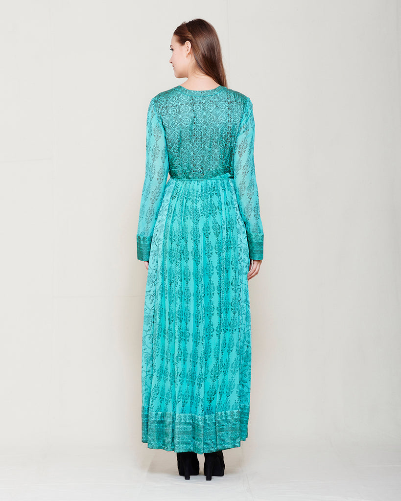 BLUE BROWN BLOCK PRINTED ANARKALI WITH GOTA THREAD WORK