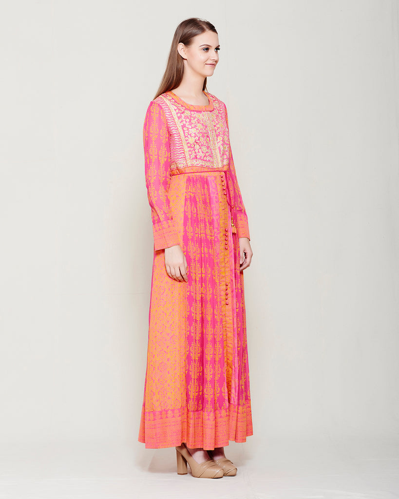 PINK ORANGE BLOCK PRINTED ANARKALI WITH GOTA THREAD WORK