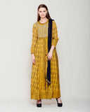 MUSTARD NAVY BLUE BLOCK PRINTED ANARKALI WITH GOTA THREAD WORK