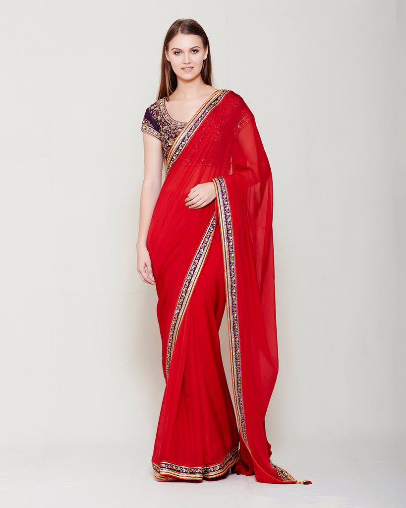MAROON SAREE WITH WINE HEAVY ZARDOZI THREAD WORK BLOUSE