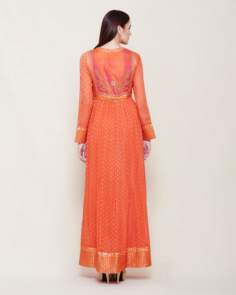 Orange Anarkali Set.