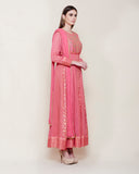 Dark Coral Pink Anarkali Set.
