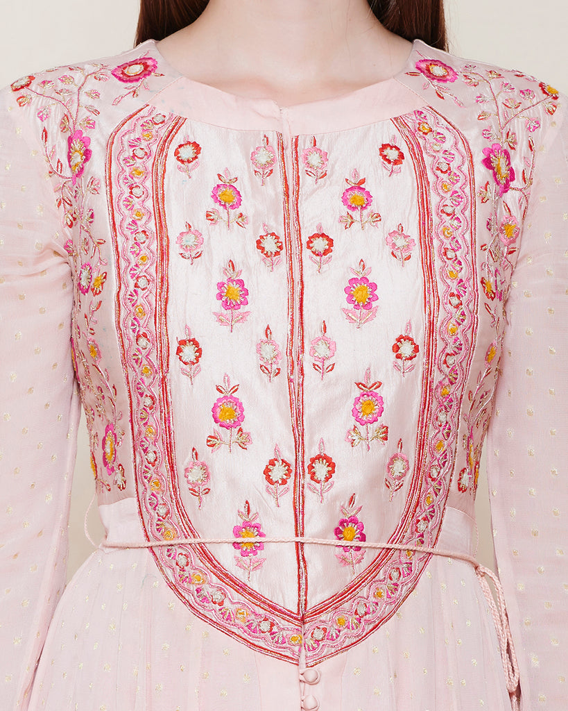 LIGHT PINK PETAL YOKE ANARKALI KURTA