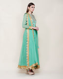 SEA GREEN LONG YOKE ANARKALI KURTA