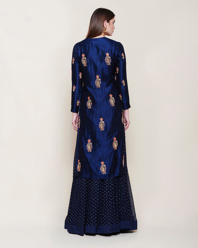MIDNIGHT BLUE ZARDOZI SILK KURTA LEHENGA