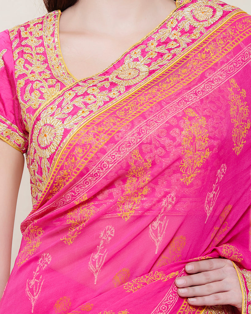 PINK YELLOW GOTA PRINTED SAREE