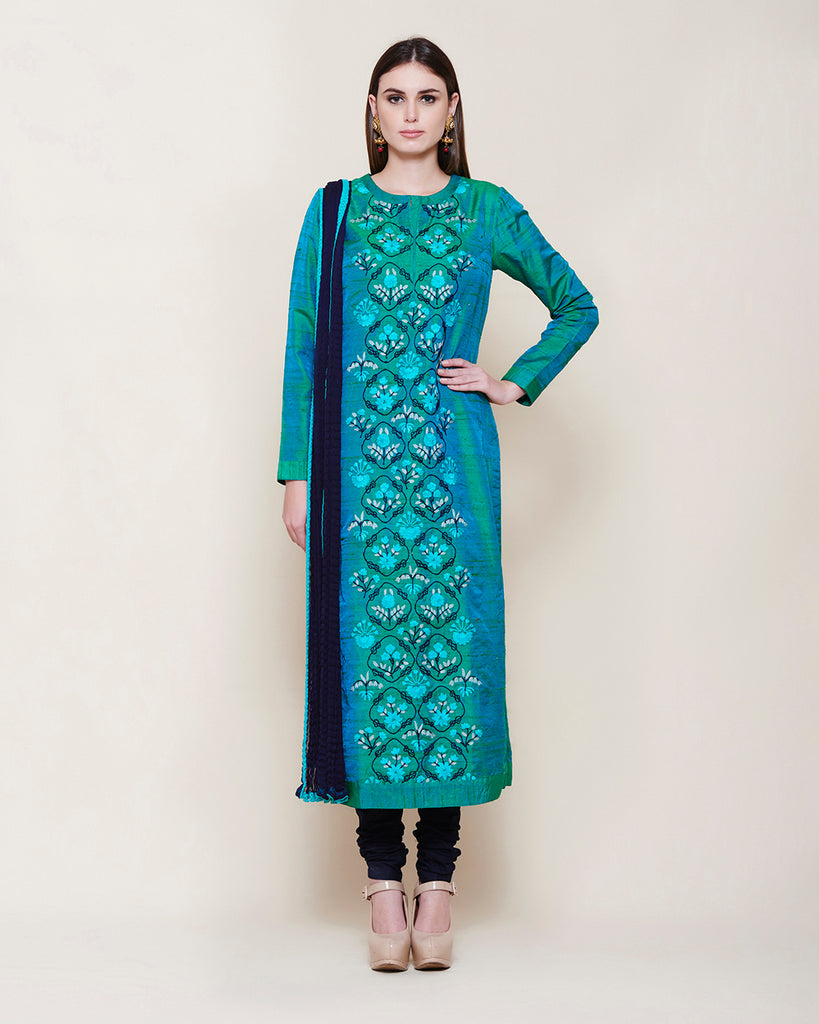 EMERALD GREEN BLUE EMBROIDERED SILK KURTA SET