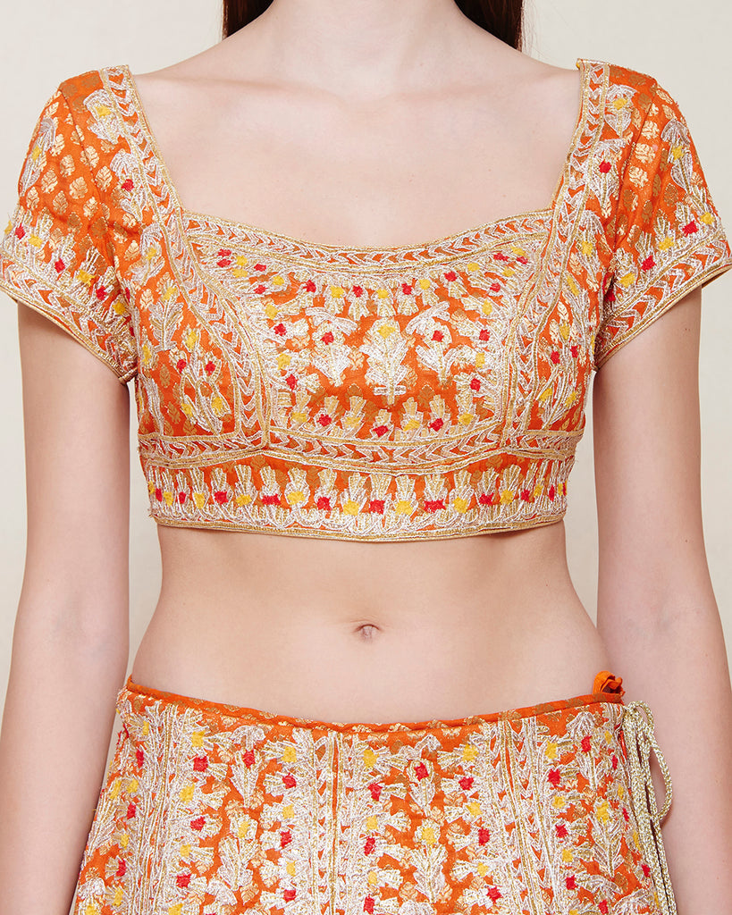 ORANGE BROCADE GOTA EMBROIDERED LEHENGA