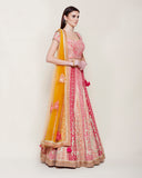 GOLD PINK THREAD VELVET EMBROIDERED LEHENGA