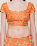 EMERALD ORANGE GOLD DORI LEHENGA