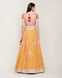 YELLOW BLOCK PRINTED RAW SILK LEHENGA