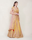 YELLOW PINK GOLD ZARDOZI LEHENGA