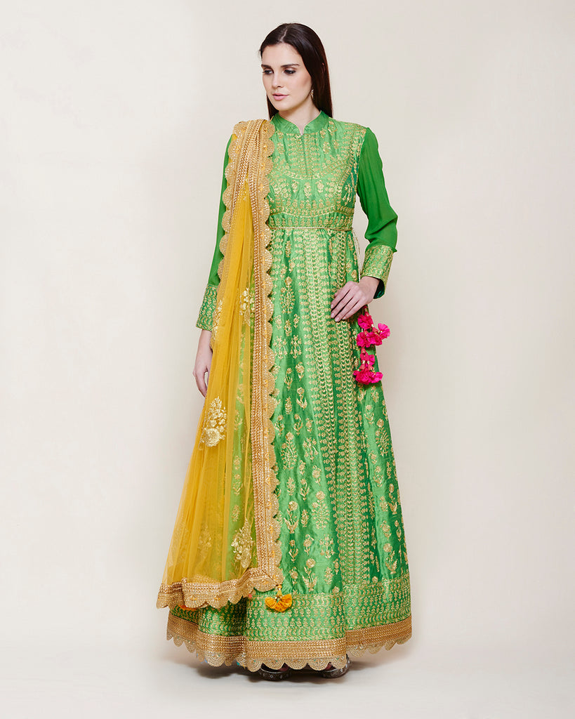 EMERALD GREEN GOLD DORI ANARKALI