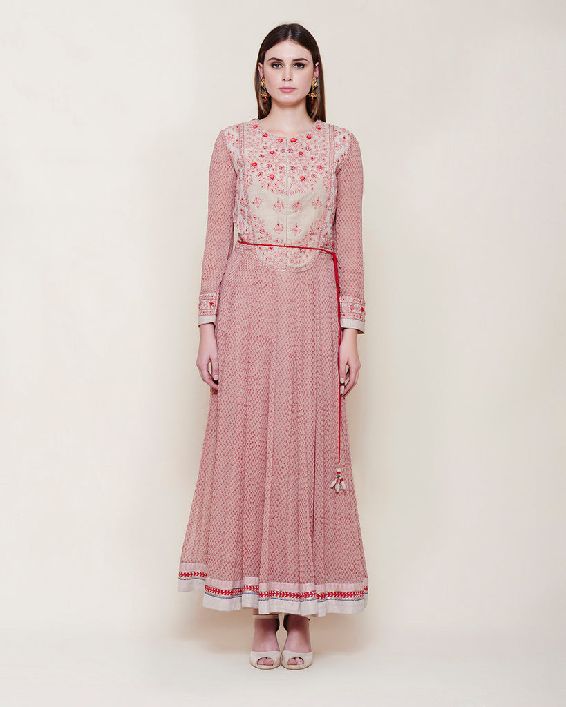 POWDER PINK RED LONG YOKE ANARKALI KURTA