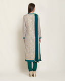 Neutral/teal  kurta set.