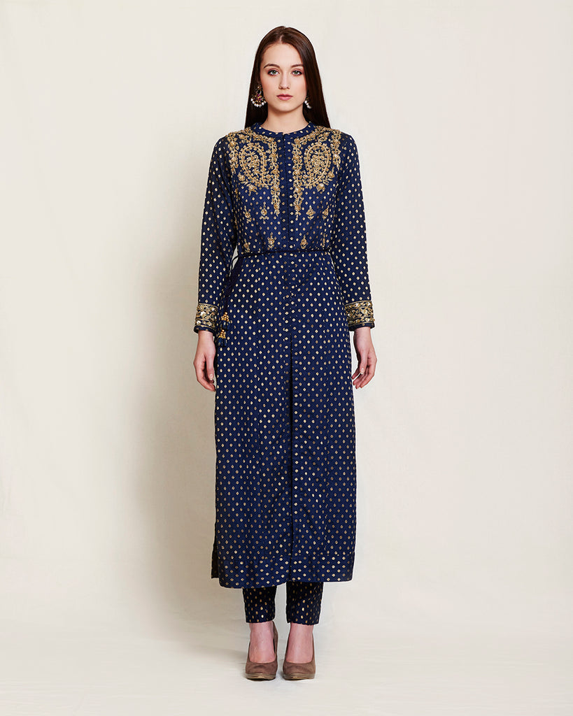 Navy Blue gold Zardosi anarkali