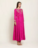 Magenta brocade, long flared jacket