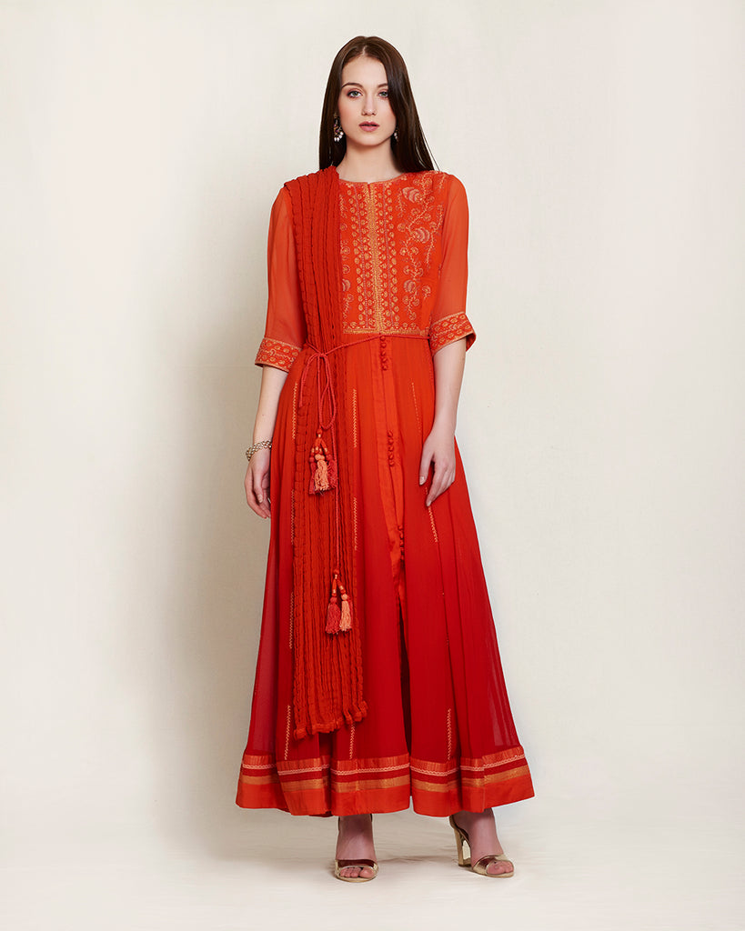 Brick red thread embroidered long kurta