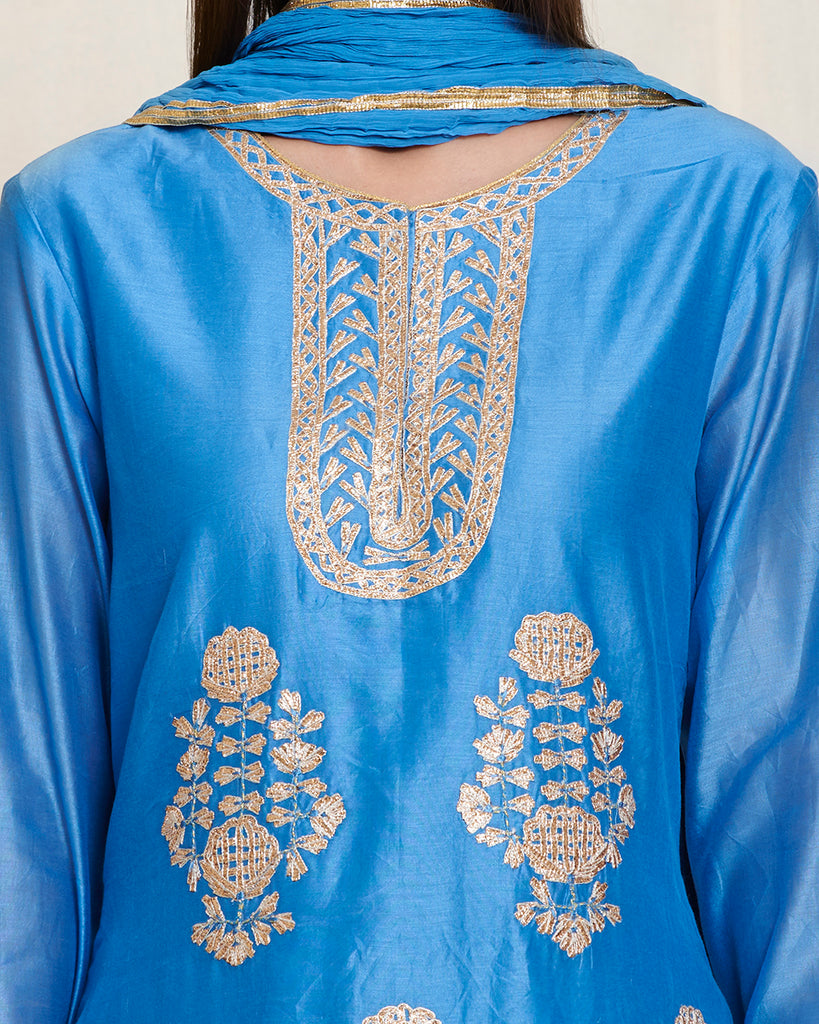 Blue gota kurta skirt set