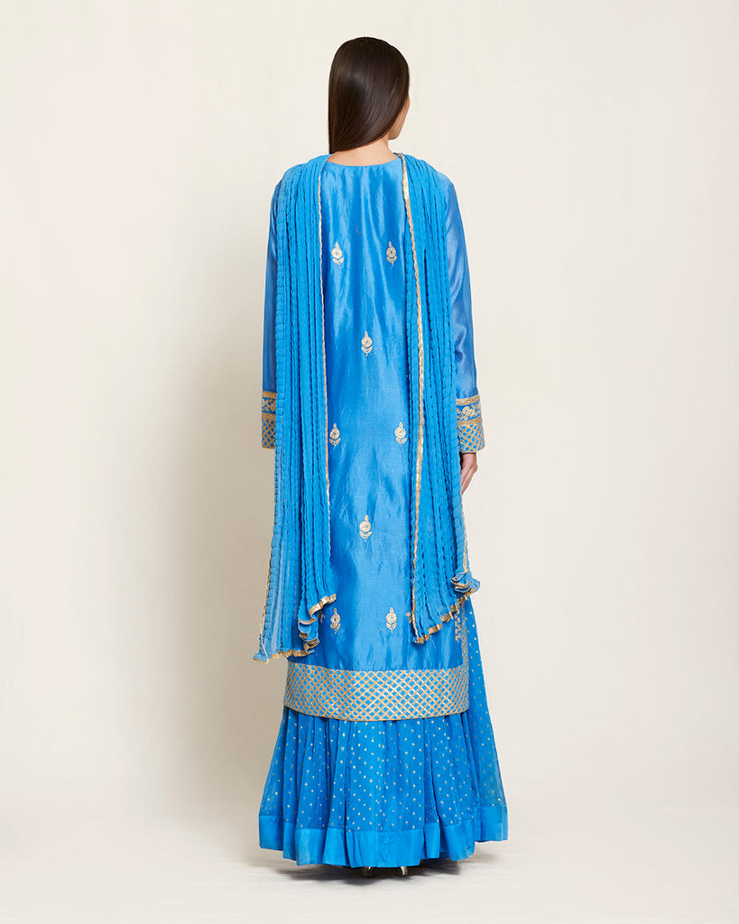 SNP 320-Blue gota kurta skirt set