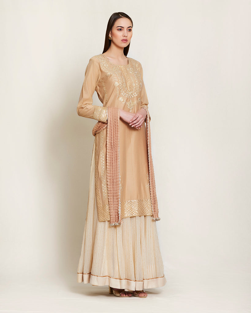 Neutral/Off white kurta and skirt set