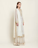 Off white gota chanderi kurta skirt set