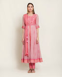 Pink silk kurta set.