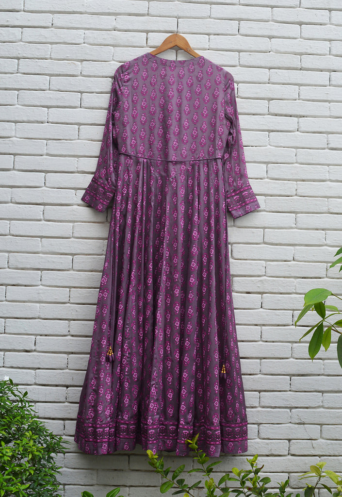 Purple Pink Anarkali Set.