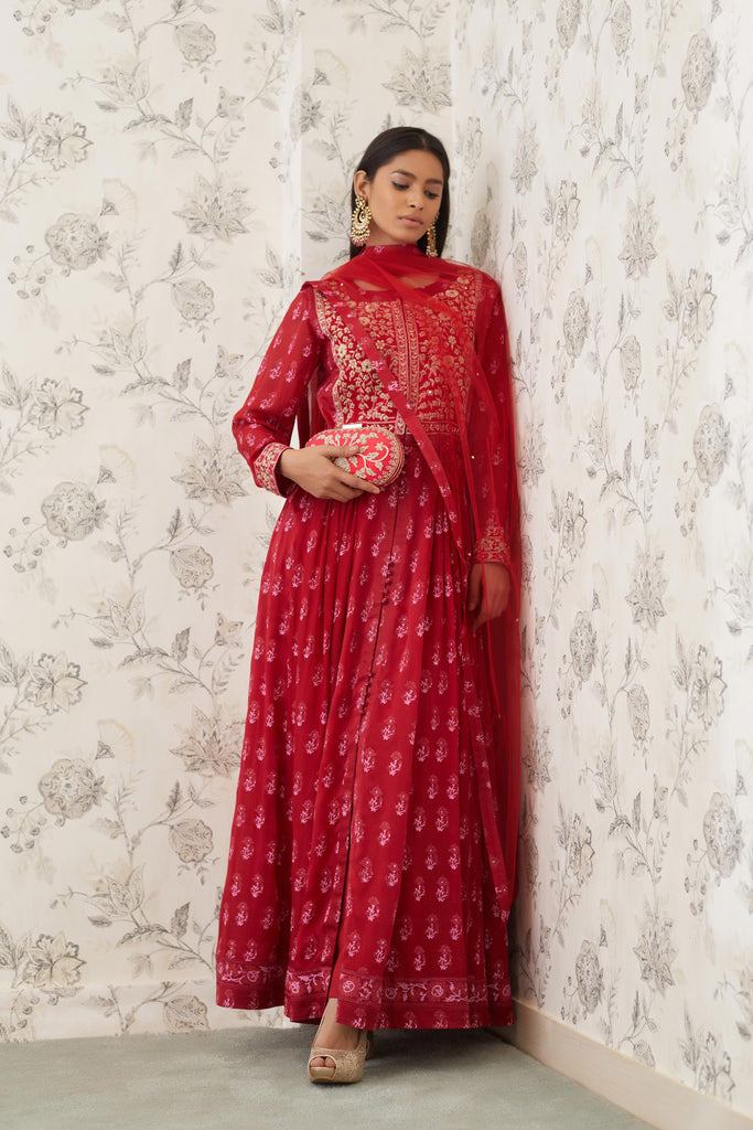 Maroon Anarkali Set.