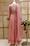 Old Rose Pink Anarkali Set.