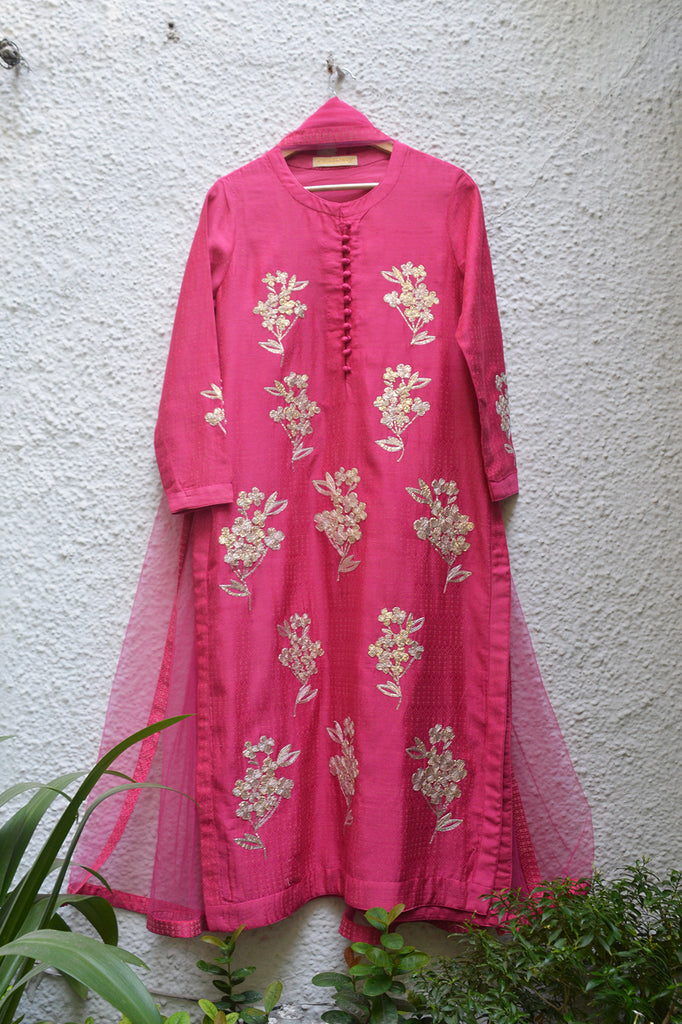 Dark Coral Kurta Set.