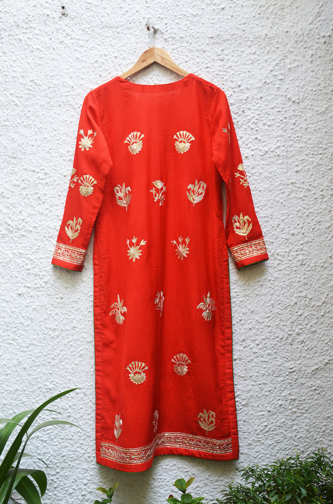 Red Kurta Set.