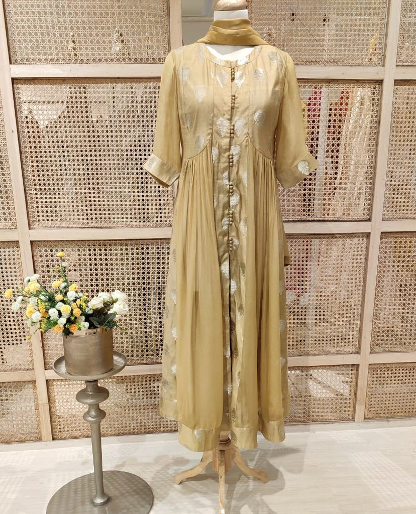 Golden Brown Anarkali Set.