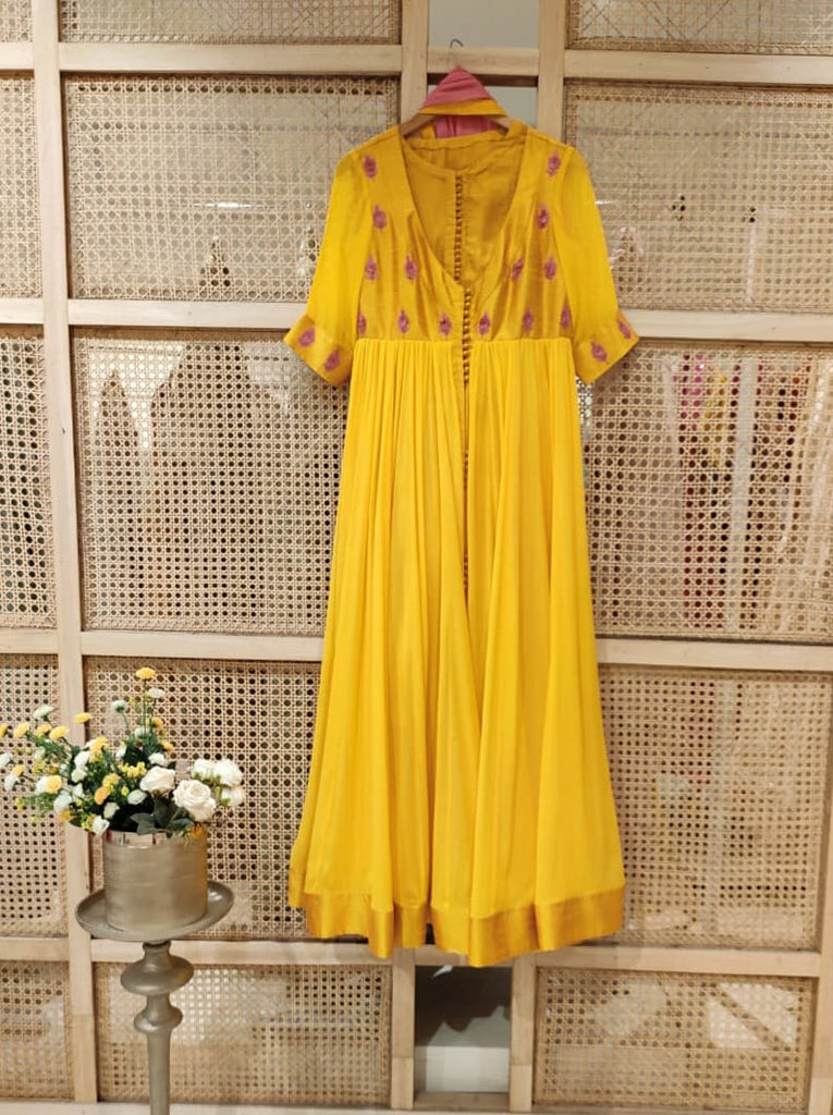 Yellow Anarkali Set.