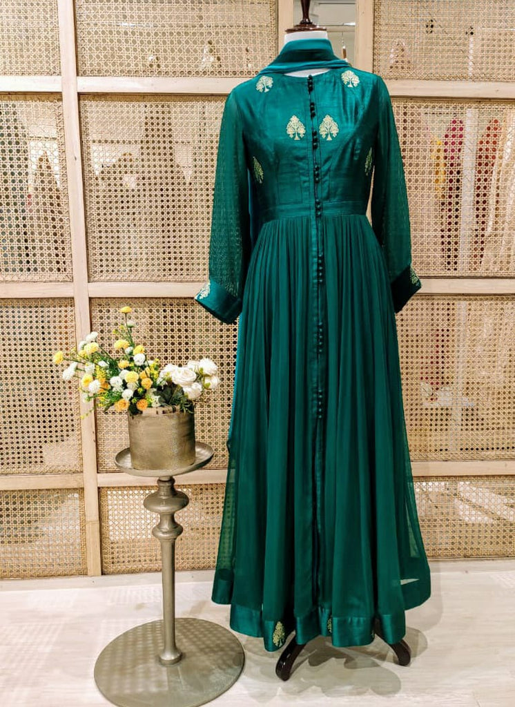Bottle Green Anarkali Set.