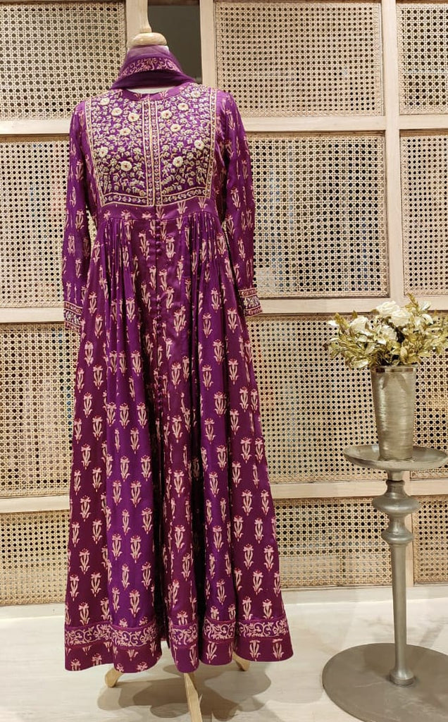 Wine Anarkali Set.