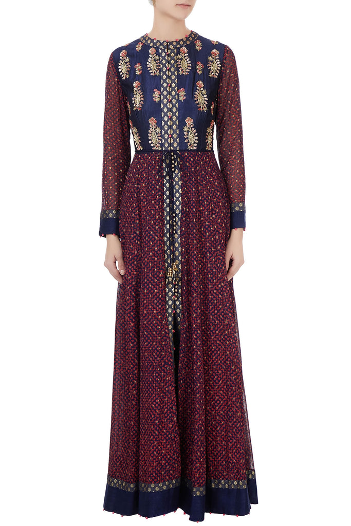 Navy blue & burgundy block printed anarkali set