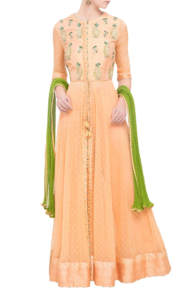 Peach raw silk zardozi anarkali set with green dupatta