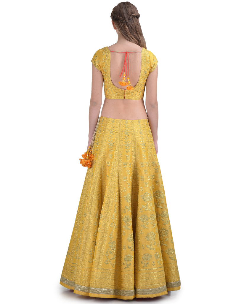 LEMON YELLOW SILK EMBROIDERED DORI AND ZARI LEHENGA SET