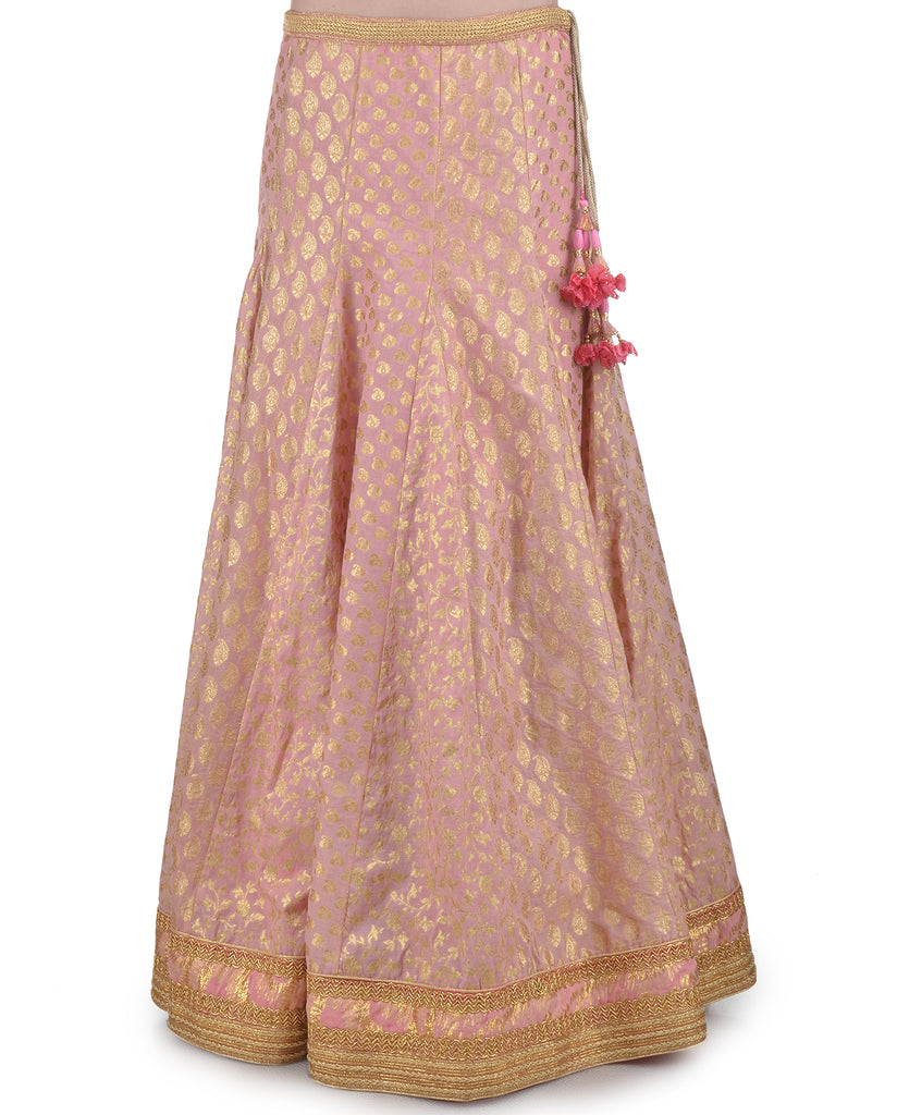 OLD ROSE PINK CHANDERI BROCADE EMBROIDERED LEHENGA SET