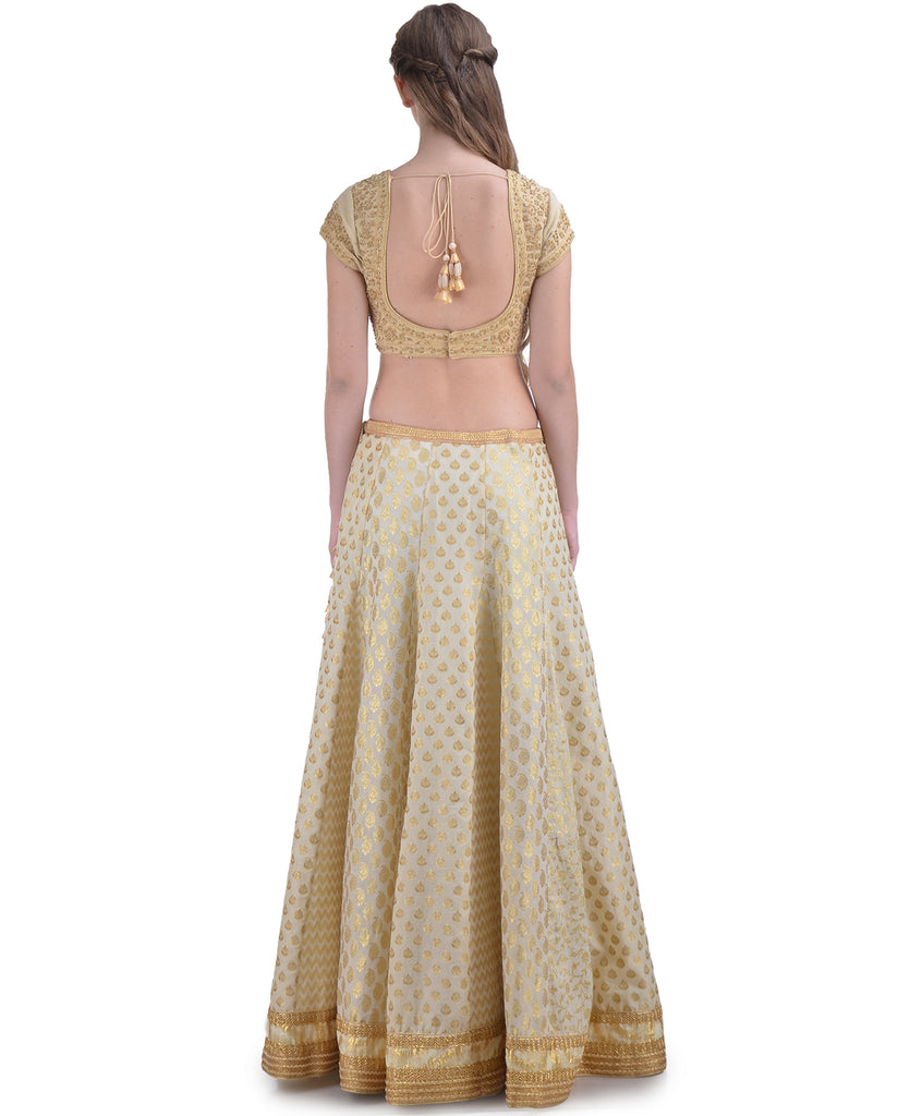 OFF-WHITE CHANDERI BROCADE EMBROIDERED LEHENGA SET