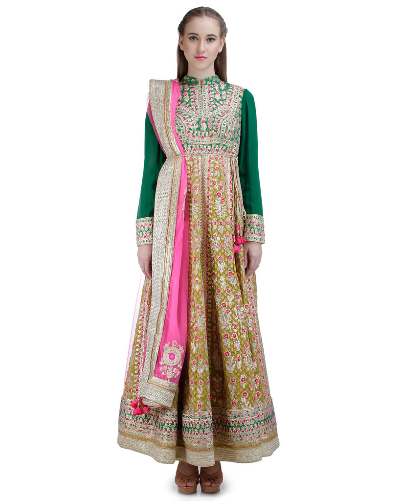 DARK GOLDEN AND DARK GREEN GOTA EMBROIDERED ANARKALI