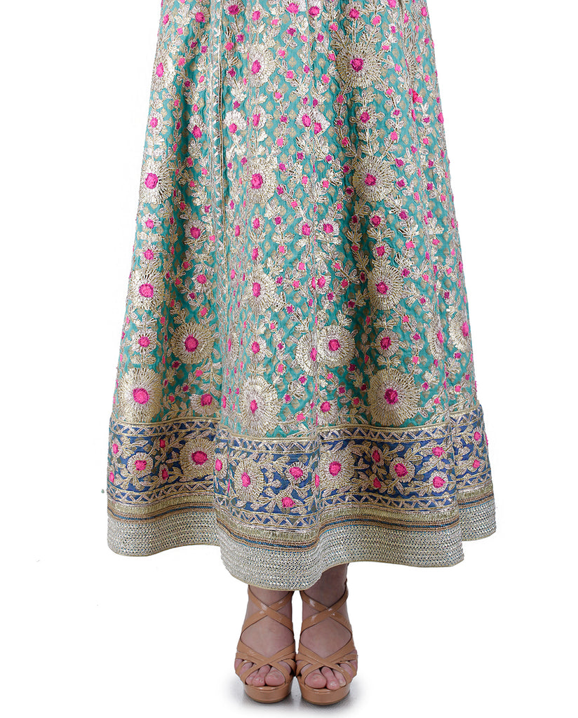 TEAL AND DARK BLUE GOTTA EMBROIDERED ANARKALI