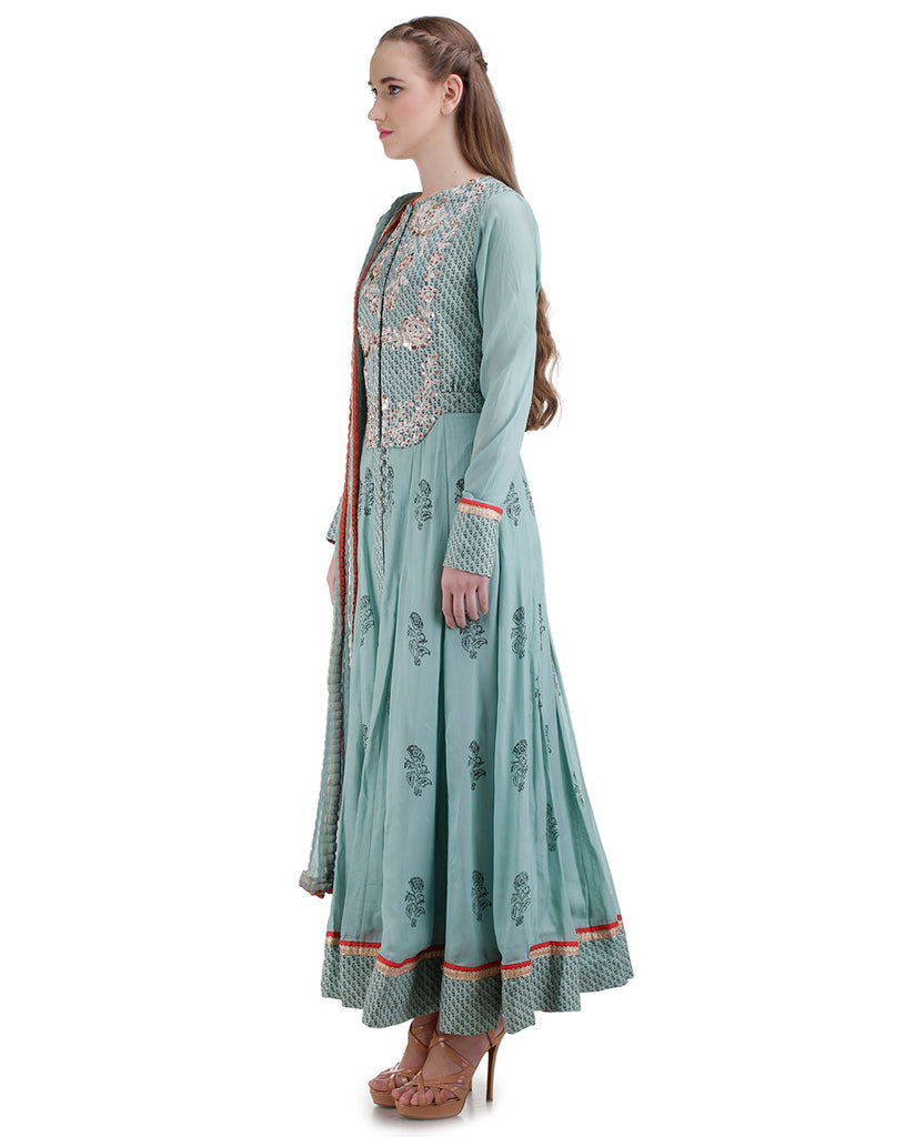 CASCADE BLUE EMBROIDERED KURTA SET