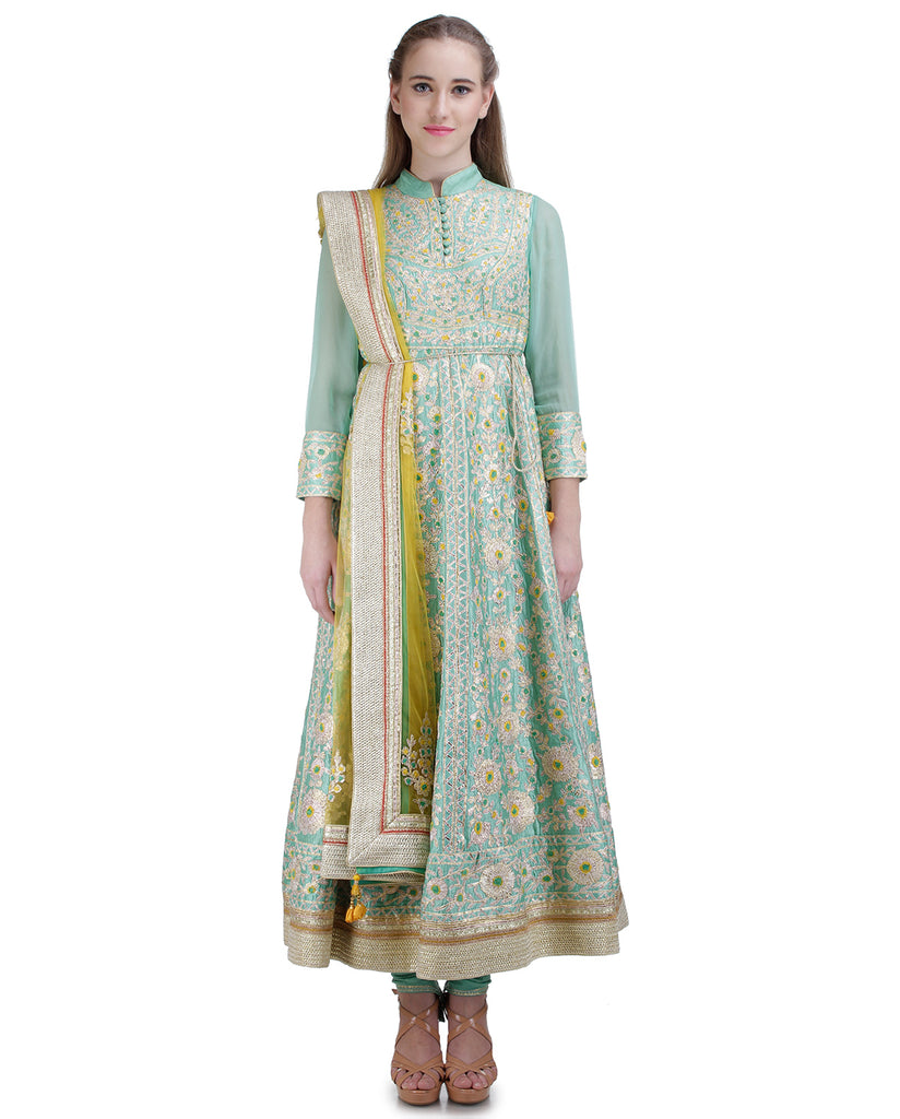 SEA GREEN LONG ANARKALI SET